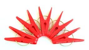 Vijf rode rond gesitueerde pinnen Stock Fotografie