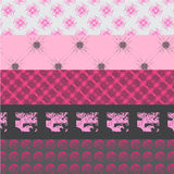 Vijf roze en grijze patronen Royalty-vrije Stock Afbeelding