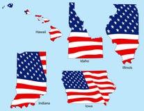 Vijf Staten met Vlaggen Stock Foto's