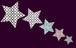 Vijf sterren met een binnen patroon van multi-colored cirkels, diafragma's Royalty-vrije Stock Fotografie