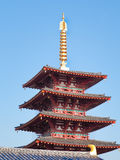 Vijf Storied Pagode bij Shitennoji-Tempel, Osaka Japan royalty-vrije stock foto's