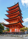 Vijf-Storied Pagode bij Toyokuni-Heiligdom in Miyajima Royalty-vrije Stock Fotografie