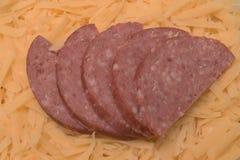 Vijf stukken van gesneden salami Royalty-vrije Stock Foto's