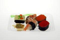 Vijf sushi en wasabi Stock Afbeelding