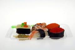 Vijf sushi en wasabi Royalty-vrije Stock Foto's
