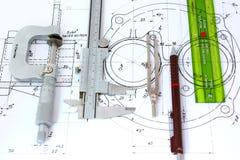 Vijf techniekhulpmiddelen op blauwdruk Stock Fotografie