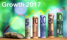 Vijf, tien, twintig, vijftig honderd euro gerolde rekeningen bankn Royalty-vrije Stock Foto's