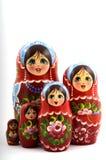 Vijf traditionele Russische matryoshkapoppen royalty-vrije stock foto's