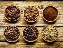 Vijf verscheidenheden van koffiebonen en poeder Royalty-vrije Stock Foto's