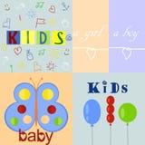 Vijf verschillende babyemblemen en achtergronden Royalty-vrije Stock Foto's