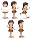 Vijf verschillende posities van een meisje Stock Fotografie