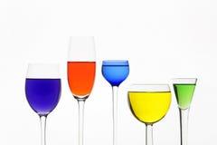 Vijf verschillende wijnglazen Royalty-vrije Stock Afbeeldingen