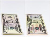 Vijf vijftig de achtergrond van de contant geldcollage Stock Foto