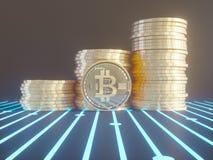 Vijf Virtuele Muntstukken Bitcoins op Gedrukte Kringsraad 3D Illustratie Royalty-vrije Stock Afbeelding