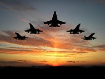 Vijf vliegtuigen Stock Foto's