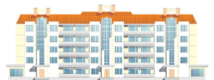 Vijf-vloer flatgebouw Royalty-vrije Stock Foto's