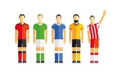 Vijf voetbalsters Stock Foto's