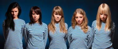 Vijf vrouwenteam Royalty-vrije Stock Foto's