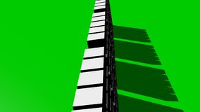 Vijf witte zich op het groene scherm bewegen, abstracte kubussegmenten die intro of outrovideo zoemen roteren royalty-vrije illustratie