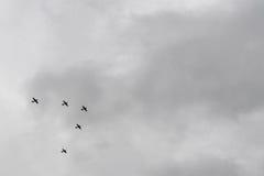 Vijf WO.II-vliegtuigen die in v-Vorming vliegen Stock Afbeeldingen