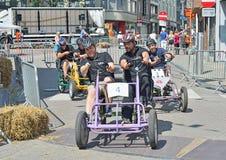 Vijfde Gocarts-ras in Halle, België Stock Foto's