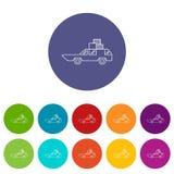Vijfdeursauto met dozenpictogrammen geplaatst vectorkleur Stock Foto's