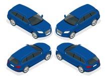 Vijfdeursautoauto Vlakke 3d Vector isometrische illustratie Hoog - het vervoerpictogram van de kwaliteitsstad Stock Afbeelding