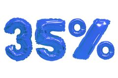 Vijfendertig percenten van ballons donkerblauwe kleur stock afbeeldingen