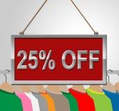 Vijfentwintig Percenten vertegenwoordigt weg Berichtbevordering en 25% Stock Foto