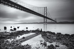 Vijfentwintigste de hangbrug van van April (25 DE Abril) over Tagus-rivier in Lissabon Royalty-vrije Stock Foto's