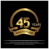 Vijfenveertig jaar verjaardags gouden het ontwerp van het verjaardagsmalplaatje voor Web, spel, Creatieve affiche, boekje, pamfle royalty-vrije illustratie