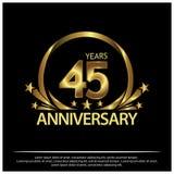 Vijfenveertig jaar verjaardags gouden het ontwerp van het verjaardagsmalplaatje voor Web, spel, Creatieve affiche, boekje, pamfle vector illustratie