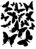 Vijftien vlindersilhouetten Stock Afbeelding