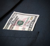 Vijftig Amerikaanse dollars in het jasje van mijn zakmensen Royalty-vrije Stock Foto's
