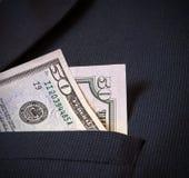 Vijftig Amerikaanse dollars in het jasje van mijn zakmensen Royalty-vrije Stock Afbeeldingen