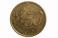 Vijftig-cent euro muntstuk Stock Foto's