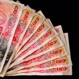 Vijftig die pond Sterlingbankbiljetten uit met het knippen van weg zwart vierkant worden gewaaid als achtergrond royalty-vrije stock foto's