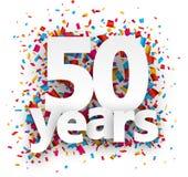 Vijftig document van het confettienjaar teken stock illustratie