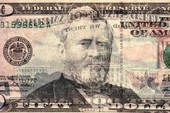 Vijftig dollars (achterlicht) stock afbeeldingen