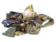 Vijftig dollars en h van multicolored stropdassen. Stock Foto