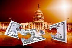 Vijftig dollarsraadsel op capitolachtergrond Stock Fotografie