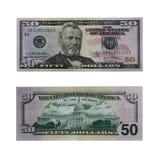 Vijftig dollarsrekening met weg Royalty-vrije Stock Afbeeldingen