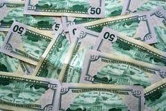 Vijftig dollarsrekeningen Royalty-vrije Stock Afbeeldingen