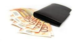 Vijftig euro bankbiljetten Stock Foto's