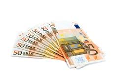Vijftig euro bankbiljetten Stock Afbeelding