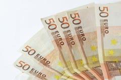 Vijftig euro bankbiljetten op witte houten achtergrond Royalty-vrije Stock Afbeelding