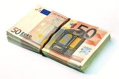 Vijftig euro bankbiljettenstapel Royalty-vrije Stock Foto
