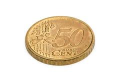 Vijftig euro centenmuntstuk dat op witte achtergrond wordt geïsoleerdo Royalty-vrije Stock Afbeelding