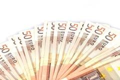 Vijftig euro die bankbiljetten uit in een ventilatorvorm worden uitgespreid stock foto's