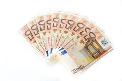 Vijftig euro die bankbiljettenventilator op witte achtergrond wordt geïsoleerd stock foto's